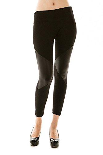 Soho Girls Rock On Leather Knee Fleece Leggings OS Black (Soho Black Leather)