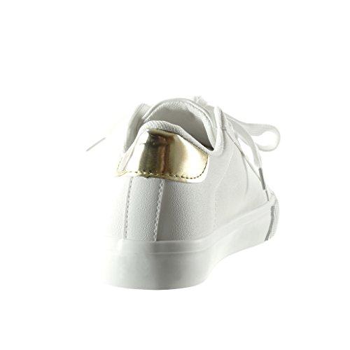Angkorly - Scarpe da Moda Sneaker donna stella strass ricamo Tacco tacco piatto 2.5 CM - Bianco