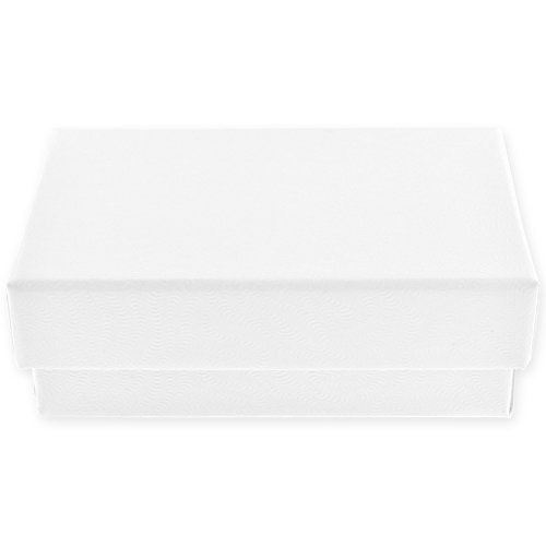 Lift Off Presentation Box (10 Pack - White Swirled Cotton Filled Medium Jewelry Gift Box)