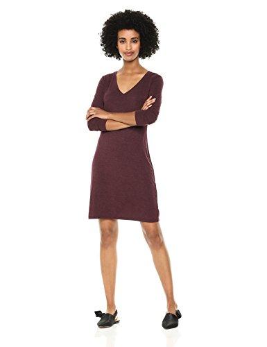 Jersey 3/4-Sleeve V-Neck T-Shirt Dress, Purple Heather, Large ()