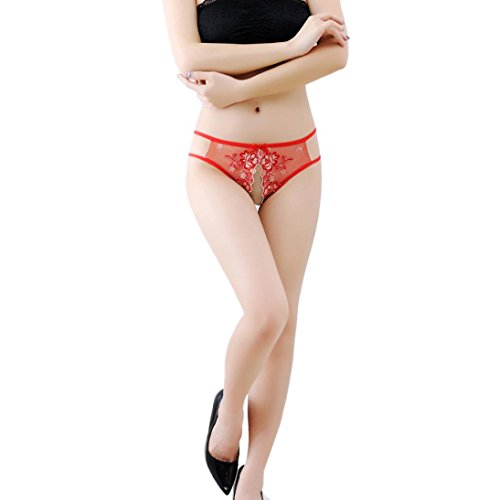 Womail Lace Thong Briefs Panties Sexy underwear For women (Red)