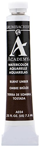 Grumbacher Academy Watercolor Paint, 7.5ml/0.25 Ounce, Burnt Umber (A024)