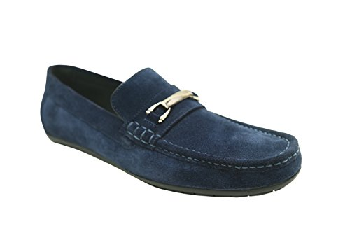 Andrew Fezza AF-S9508 Kane Suede Bit Buckle Driver Shoes, Navy (Navy Suede Driver Shoes)