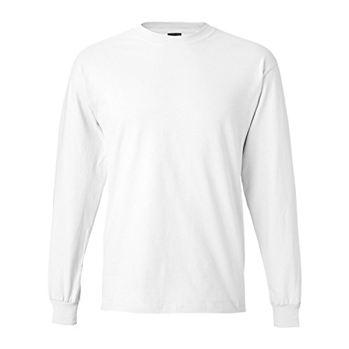 Men/s 6.1 oz Hanes BEEFY-T Long-Sleeve T-Shirt,white, size ()