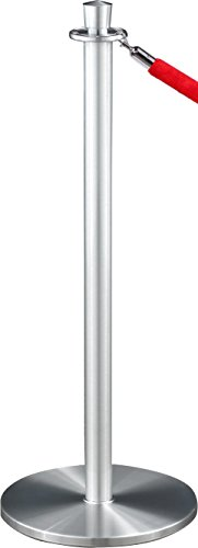 Velour Rope Glaro (Glaro 1327SA-N3REDSA4 Crown Top Stanchion - Satin Aluminum finish - 4' Red Velour Rope Included)