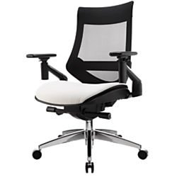 es Bonded Leather Mid-Back Multifunction Chair, Black/White (Series White Leather)