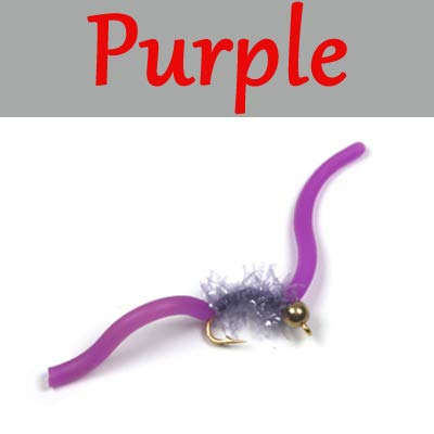 Juan San Worm Head Bead - Fishing Lures - 10PCS San Juan Worm Brass Bead Head Squirmy Wormy Fly Trout Fly Fishing Lures - Nymphs #10 - (Color: Purple 10pcs)