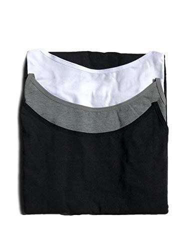 Felina | Cotton Modal Cami | 3 Pack | Adjustable | Tagless | Layering (Medium, Black Grey White) (Felina Cotton Camisole)
