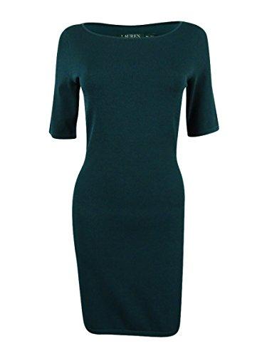 RALPH LAUREN Lauren Petite Green Ballet-Neck Knit Sheath Dress ()