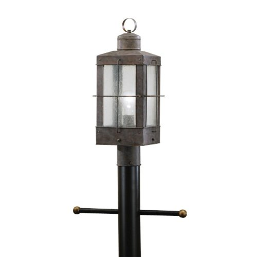 9979OB Concord 1LT Exterior Post Lantern, Olde Brick Finish with Clear Seedy Glass