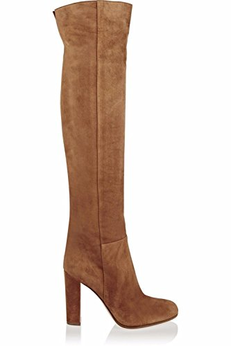 NVXIE Women Ladies Over Knee Thigh Knight Boots Rough High Heel Shoes Brown Suede Round Head Spring Autumn Winter BROWN-EUR35UK3 Fw0lF9