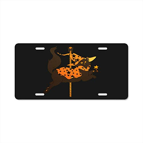 YEX Abstract License Plate Halloween Cat Carousel High