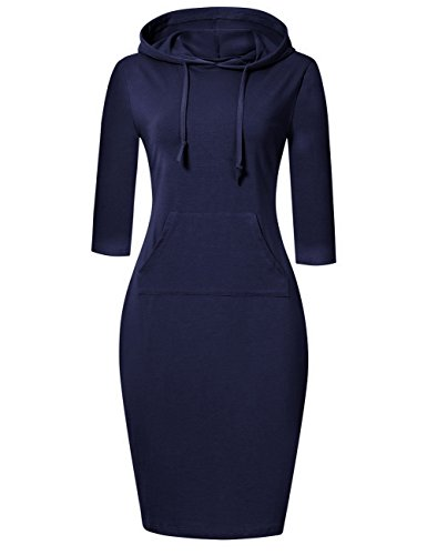 (MISSKY Blue Long Sleeve Dresses for Women Pullover Hoodie Stripe Pocket Knee Length Slim Sweatshirt Casual Dress (XS, Dark Blue))