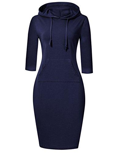 MISSKY Blue Dresses for Women Long Sleeve Pullover Stripe Pocket Knee Length Slim Sweatshirt Casual Hoodie Dress (XXXL, Dark Blue)