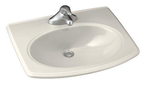 White Pinoir Bathroom Sink - KOHLER K-2085-8-96 Pinoir Self-Rimming Bathroom Sink, Biscuit