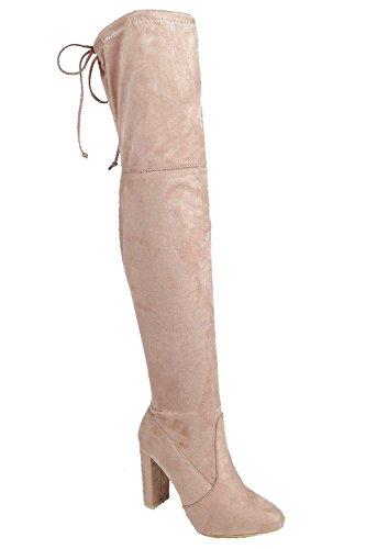 Mokka Damen Mia Block Heel Lace Up Zurück Over Knee Boot - 3
