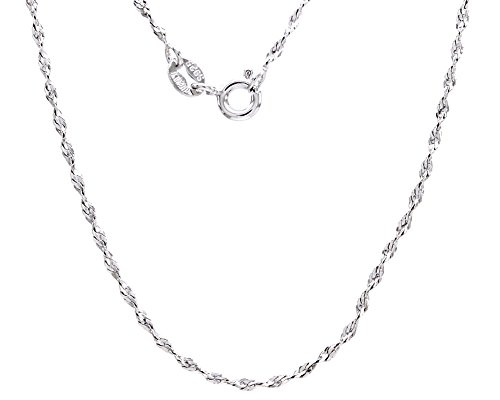 wishrocks Italian Crafted 18K White Gold Over Sterling Silver 2.62MM Rope link 8