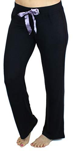 Ms Lovely Women's Ultra Soft Sleep Lounge Sweatpants Satin Tie Cute Comfy Baggy Pants - Black X-Large - Rise Sweatpants Low