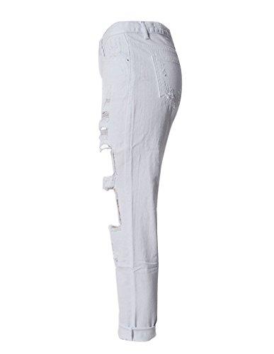 Vita Pantaloni Da Diritti Jeans Strappato Slegato Bianco Buco Donna Alta Distrutti wnBnX6qZxR