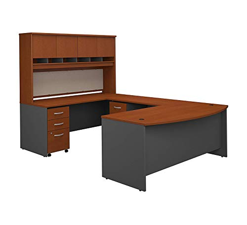 Wood & Style Furniture 72W Bow Front U Shaped Desk with Hutch and Storage in Auburn Maple Premium Office Home Durable Strong