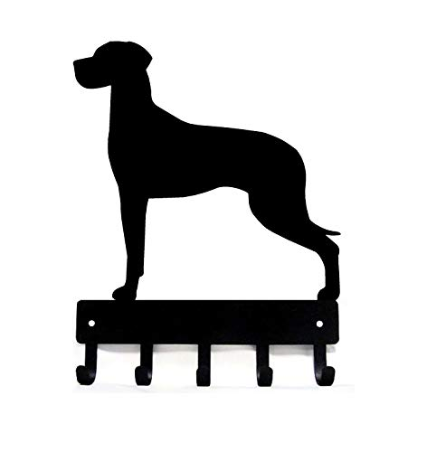 - The Metal Peddler Great Dane (Natural Ears) Key Rack Dog Leash Hanger - Large 9 inch Wide