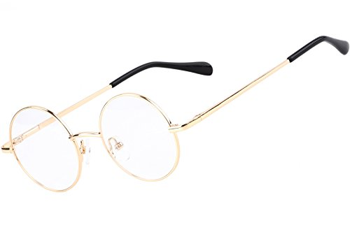 Metal Prescription Eyeglasses - Agstum Retro Round Prescription ready Metal Eyeglass Frame (Small Size) (Gold)