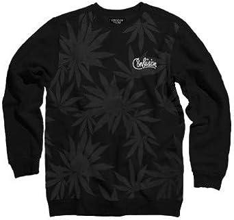 CONFUSION Sudadera Marca Manga Larga Weed Black Crew Neck en Negro con Estampados en Gris y el Logotipo de la Marca Bordado. 100% algodón: Amazon.es: Ropa y accesorios