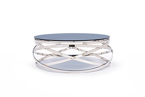 VIG Furniture Modrest Tulare Collection Contemporary Round 10mm Smoked Glass Top Coffee Table with Stainless Steel Base, Smoked & - Glass Tulare