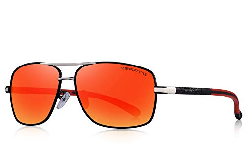 MERRY'S Mens Driving Polarized Sunglasses for Men Square 45mm Sun glasses S8714 (Red Mirror, ()