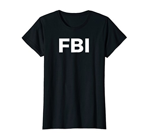 Womens FBI Halloween Costume T-Shirt Large Black ()