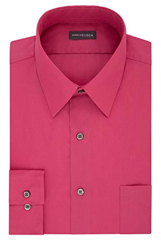 Van Heusen Men's Dress Shirt Regular Fit Poplin Solid, Desert Rose, 17.5