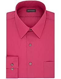 Men's Poplin Regular Fit Solid Point Collar Dress Shirt