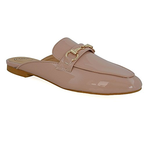 Essex Glam Donna Slip On Mulo Flat Backless Fibbia Scarpe Fannullone Nude Patent