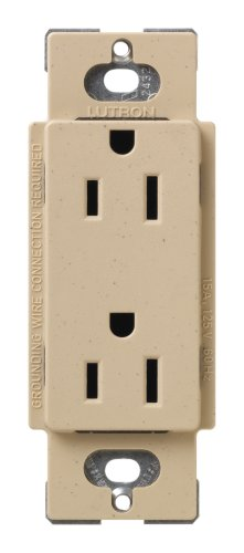- Lutron SCR-15-DS Satin Colors 15A Electrical Socket Duplex Receptacle, Desert Stone