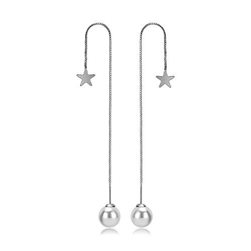 925 Sterling Silver Long Tassel Pearl Threader Dangle Star Drop Ball Earrings for Women (Solid Threader Earrings)