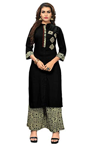 Delisa New Multi Designer Women Straight Multi Design Printed Kurti for Women Tunic Top 3/4 Sleeve Dress Plzzo (Black-181, L-40)