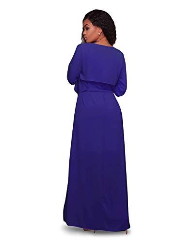 Inclusa Donne Cintura Anteriori Casuale Donna Stile Battercake A Outerwear Cappotti Comodo Tasche Confortevole Giaccone Lunga Autunno Giacca Manica Modern Blau Maglia Casual Monocromo qw76vwPO