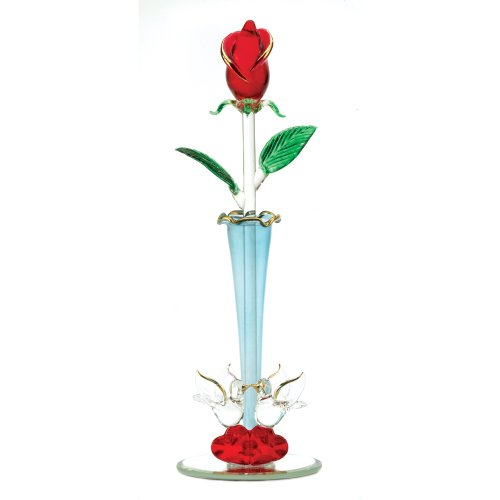 Gifts & Decor Spun Glass Rosebud Decorative Vase Home Decor Figurine