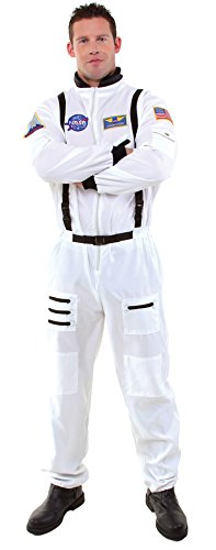 Underwraps Men's NASA Astronaut Jumpsuit Aviation Theme Halloween Fancy Costume, STD (42-46) ()
