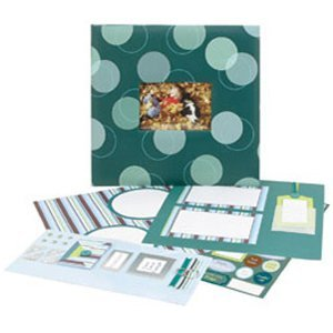 C.R. Gibson Scrapbook Album Complete - Blue / Green Polka Dots ()