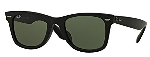 Ray-Ban Original Wayfarer RB 2140F Sunglasses Matte Black / Crystal Green 54mm & HDO Cleaning Carekit (Matte Black Crystal Green)