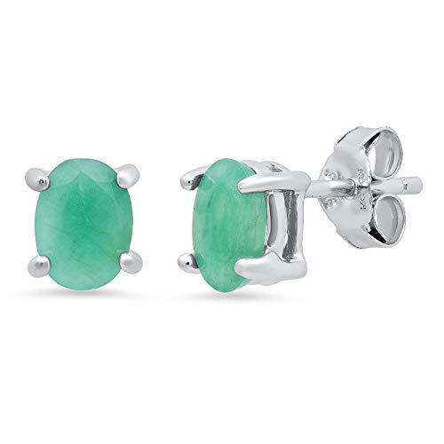 (Genuine Emerald Prong Set Oval Stud Earrings in Sterling Silver (7x5mm))