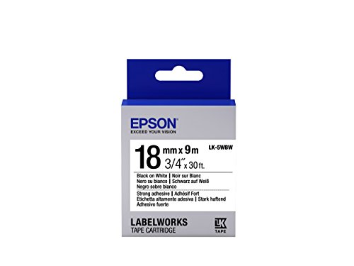 "Epson LabelWorks Strong Adhesive LK (Replaces LC) Tape Cartridge ~3/4"" Black on White (LK-5WBW) - For use with LabelWorks LW-400, LW-600P and LW-700 label printers"