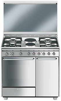 SMEG Cucina Elettrica CX92SV 4 Fuochi a Gas 2 Piastre Elettriche ...
