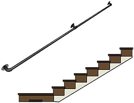 Barandilla Barandilla de Escalera de Hierro Forjado, Industrial Wind Home Pasillo Interior y Exterior Loft contra la Pared Old Man Slip Tube Valla de barandilla, 1 pie 10 pies (Negro): Amazon.es: Hogar