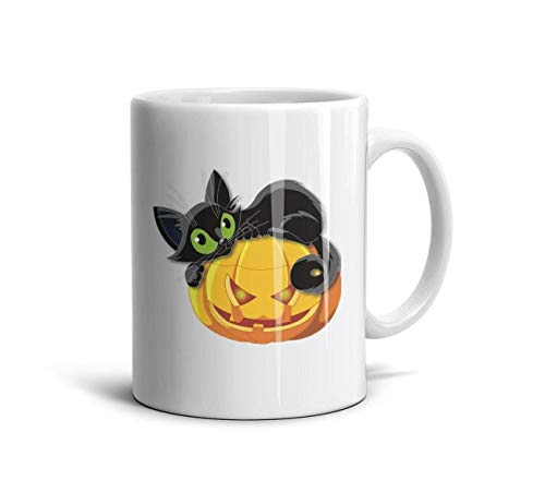 LOUTRTDF Halloween Pumpkin with cat Mans and Womens 11oz Coffee Mugs Motivational Sister -