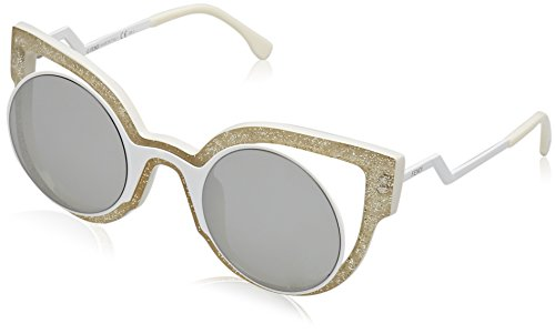 Fendi Women's Round Cutout Sunglasses, Glitter White/Silver, One Size ()