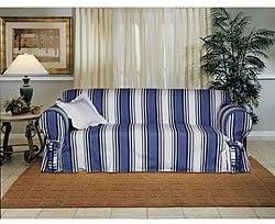 Unknown1 Cotton Blue Stripe Loveseat 1-Piece Slipcover