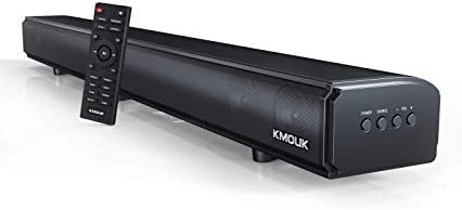 KMOUK Soundbar 2.1 Channel, Sound Bar for TV with Built-in Dual Subwoofers, Soundbar with 6 Speakers, 4 Equalizer Mode Bluetooth 5.0, HDMI ARC/Optical/AUX Connection, Wall Mountable Soundbar Home
