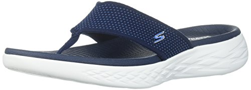 Go Punta Aperta The Navy a Blu Skechers Uomo Sandali On 600 xwSCH6aq